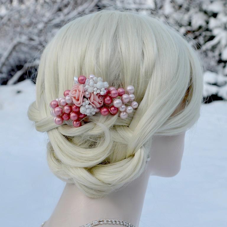 Svatební spona do vlasů růžová La Claire   Zboží prodejce kultdesign ... 9cdcabefe6