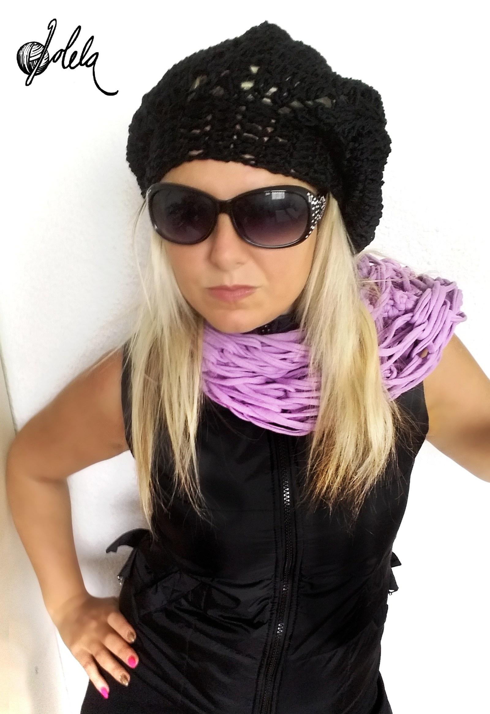 Háčkovaný baret - černý   Zboží prodejce dolela  cbe465184b