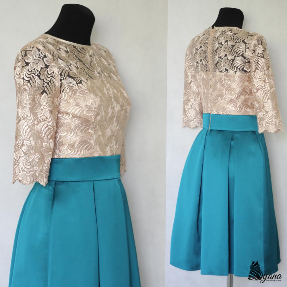 36cf4b985ed0 Koktejlové šaty so skladanou sukňou a rukávikom   Zboží prodejce ...