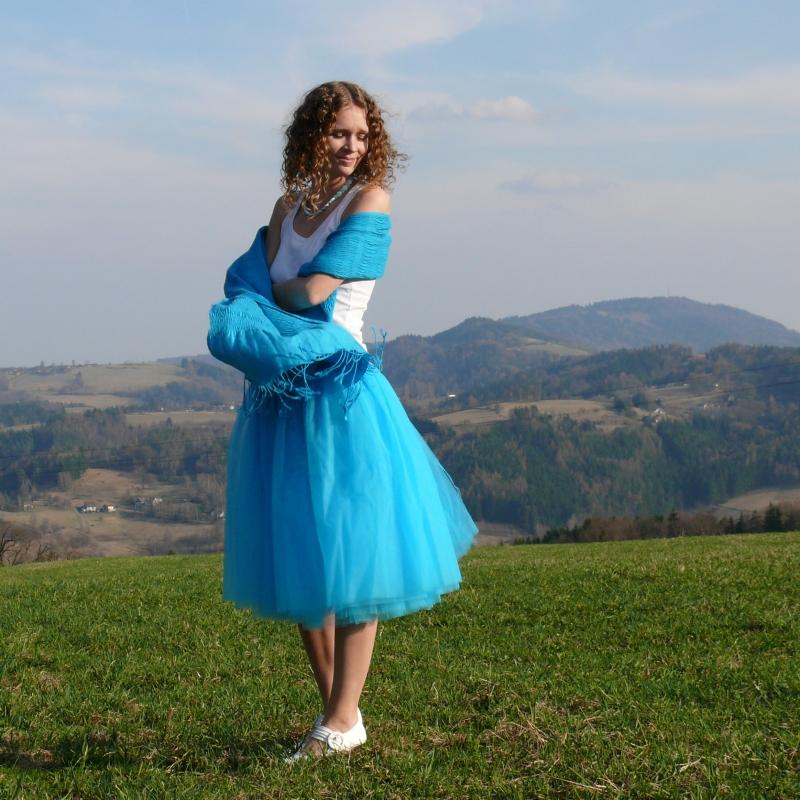 54d1e6e814a0 Tyrkysová tylová sukně   Zboží prodejce Princezna Pampeliška