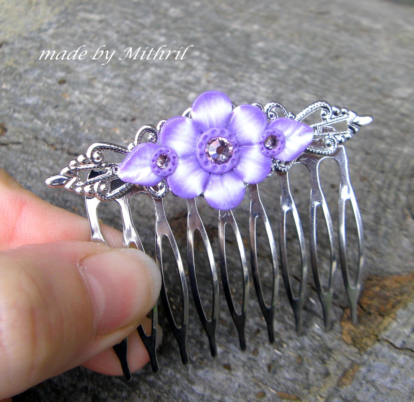 529a3f3c9a1 Filigránový hřebínek do vlasů  něha v lila   Zboží prodejce Mithril ...