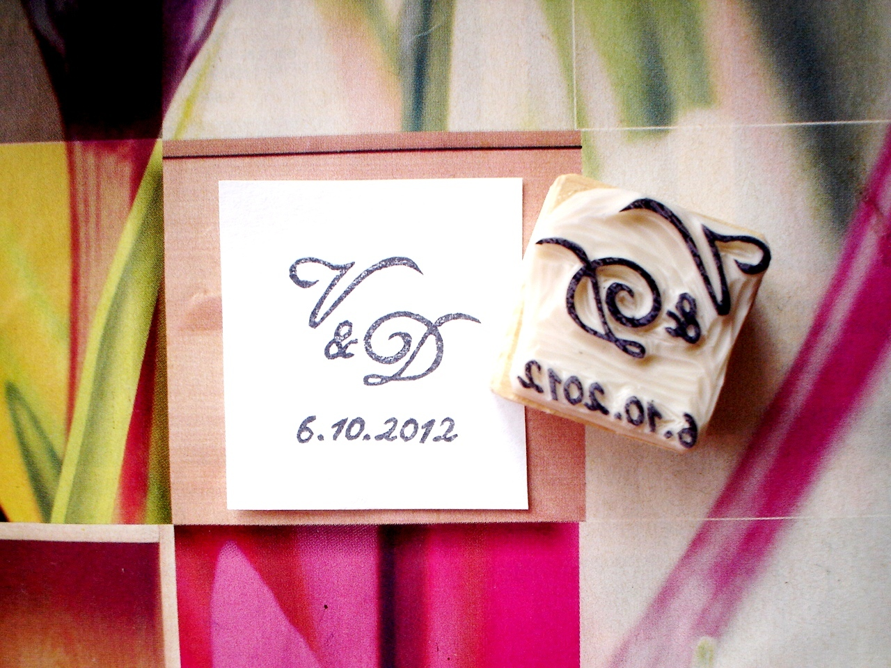 Svatební s iniciály s datem... Omyvatelné razítko.   Zboží prodejce ... 5b3ed7308b9