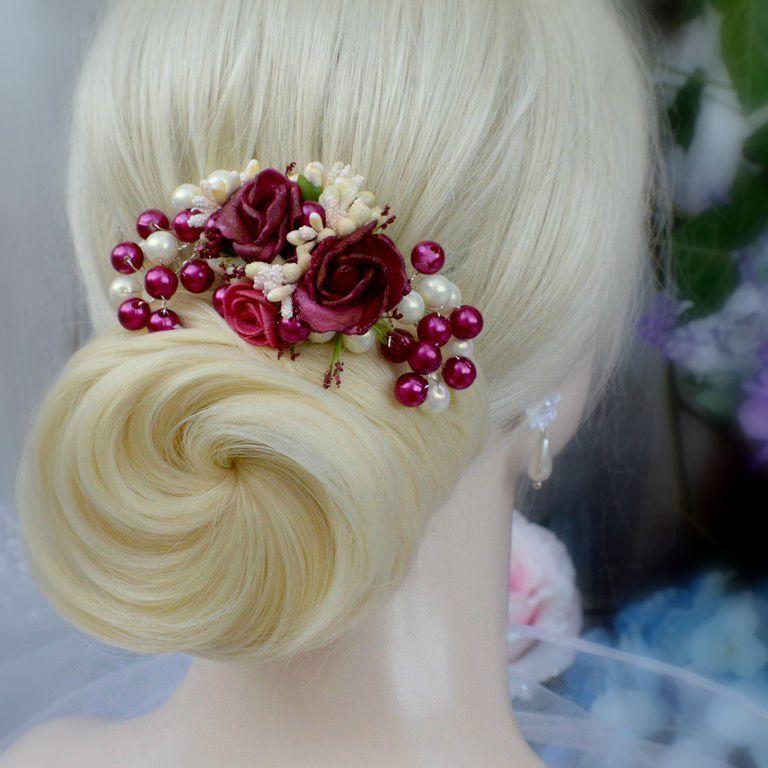 Svatební spona do vlasů La Ivory Bordeaux   Zboží prodejce ... e0b5dfbab5