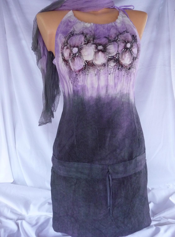 Lněné šaty + fáčový šál fbe5325a07