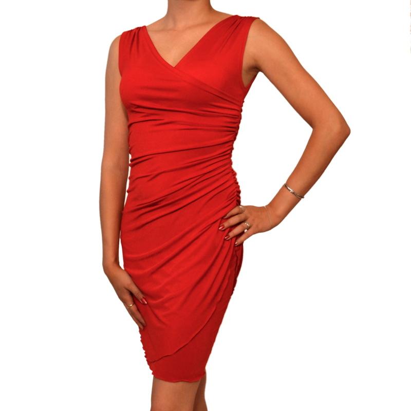 Červené koktejlové šaty s řasením vel. 34 až 48   Zboží prodejce ... f153b72102