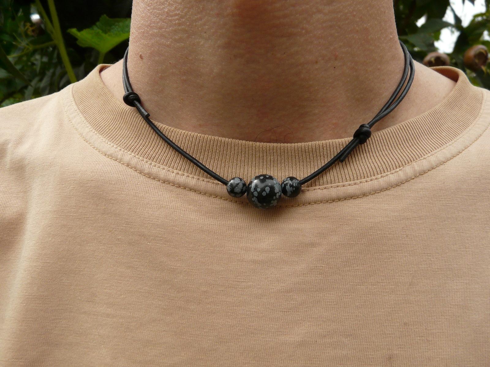71a3e3af5 Kožený náhrdelník pánský s kameny: obsidián / Zboží prodejce ...