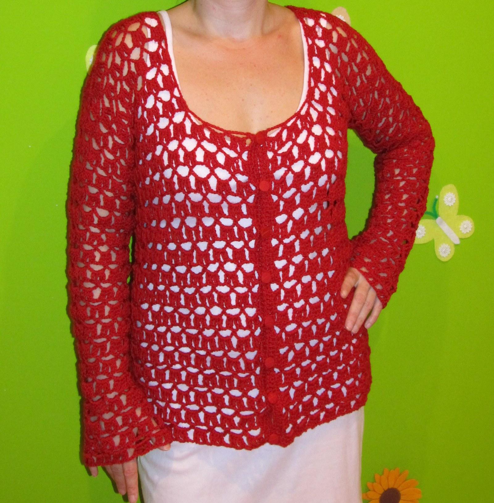 Háčkovaný červený svetr-SLEVA   Zboží prodejce Hladisek  9d0eeca177
