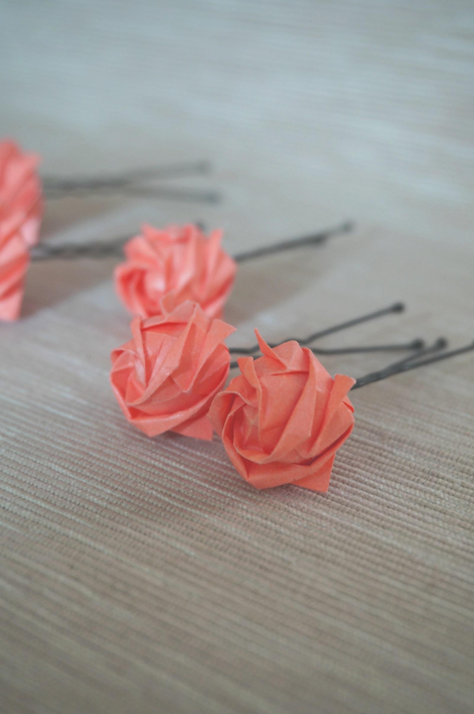 4455e1040dd Origami růže do vlasů - lososová   Zboží prodejce Ann-chan