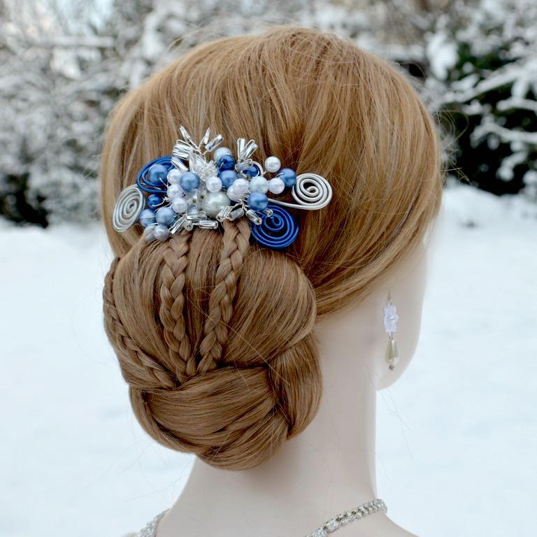 befff186e92 Svatební spona do vlasů modrá Vilemína   Zboží prodejce kultdesign ...