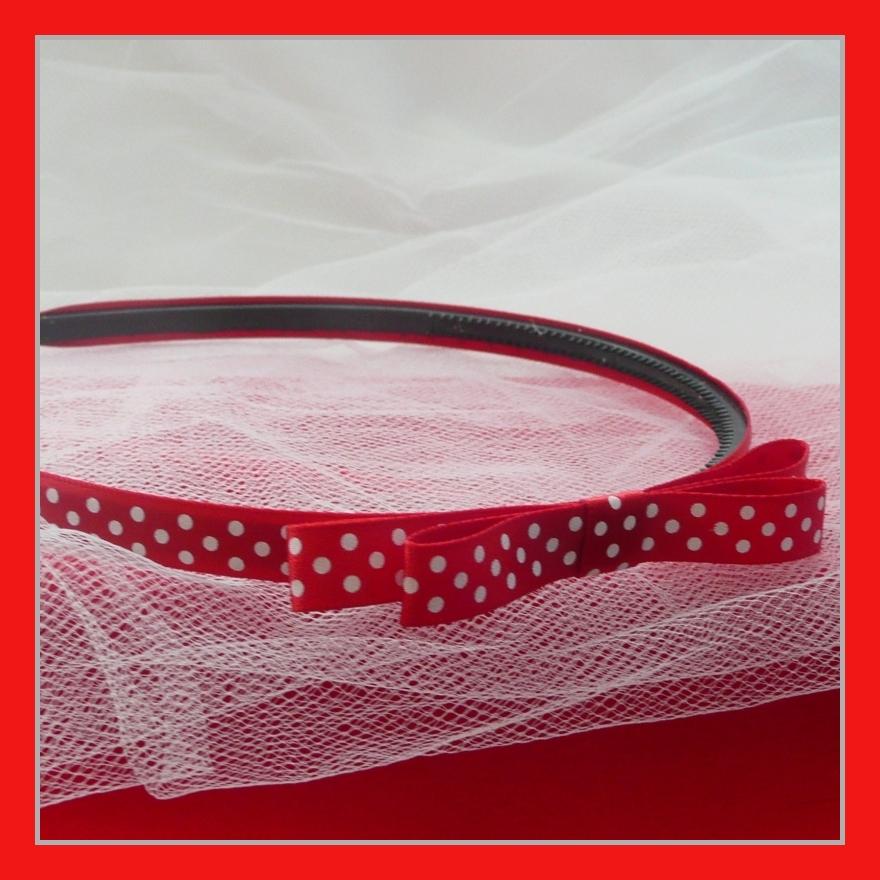 9e98764fa0f Červená puntíkovaná úzká čelenka s mašlí   Zboží prodejce Princezna ...