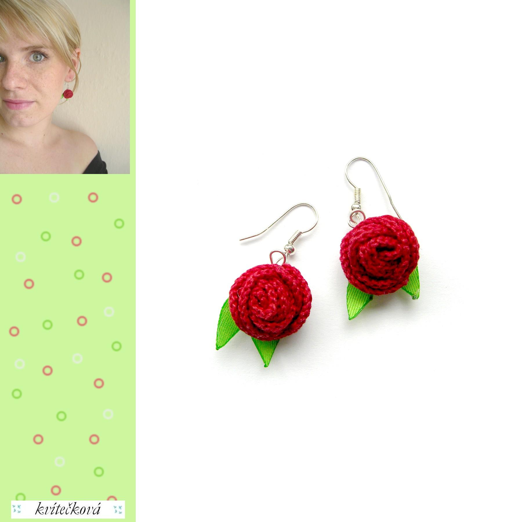 Háčkované náušnice - Růžičky červené   Zboží prodejce kvítečková ... 94cf49946f8