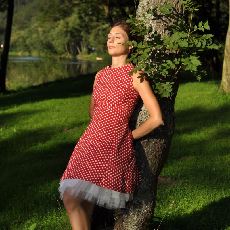 8a14e72a2163 Puntíkované bavlněné šaty   Zboží prodejce Princezna Pampeliška ...