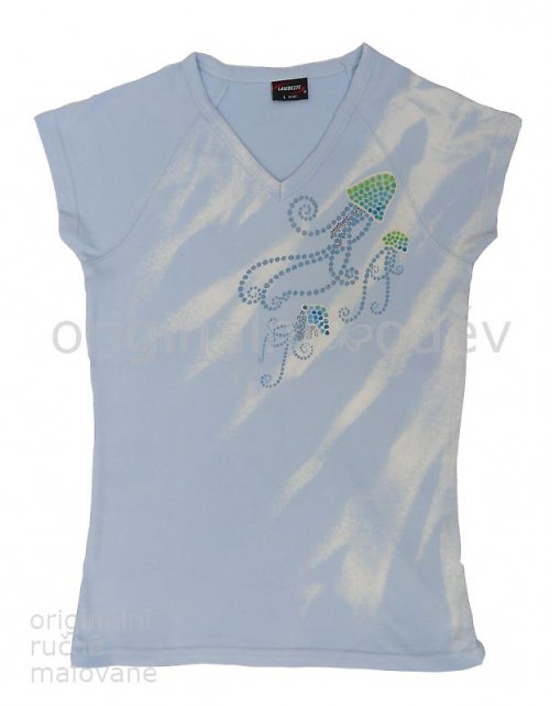 Malované tričko dámské - medůzky - modré