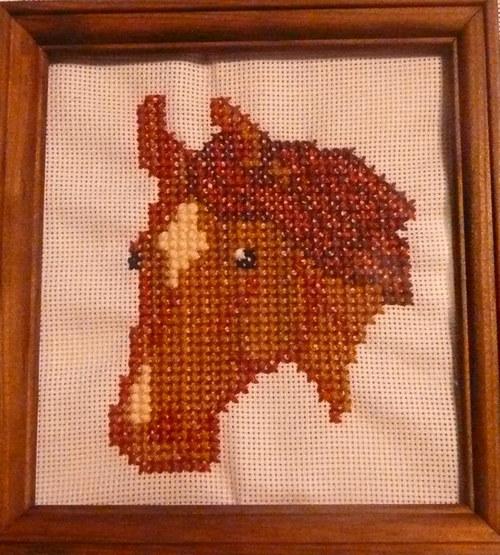 Vyšívaná obrázek - kůň