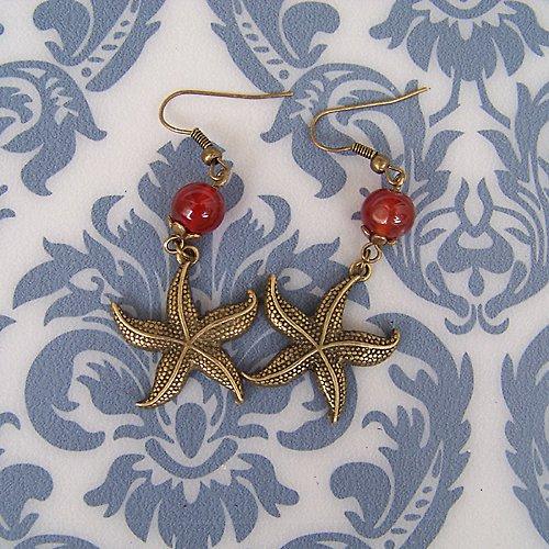 Bronzové náušnice mořská hvězdice II