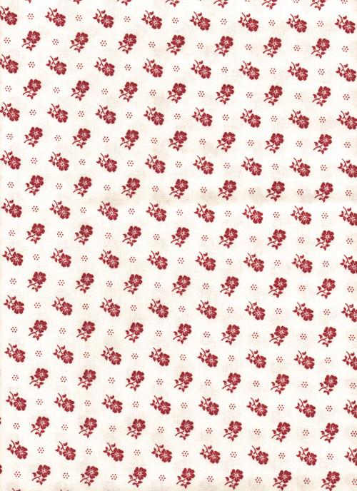 Látka s potiskem, staročeské květy červené