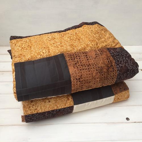 Brown - prošívaná patchworková deka