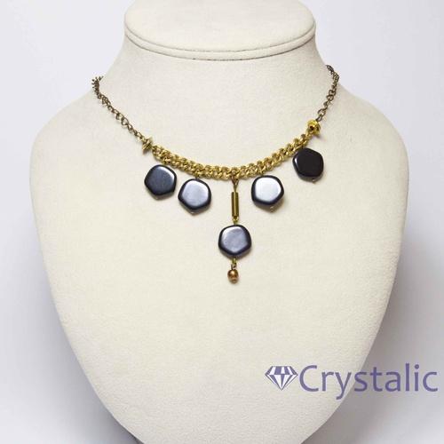 Náhrdelník-skleněné ploché perle na mosaz.řetízku