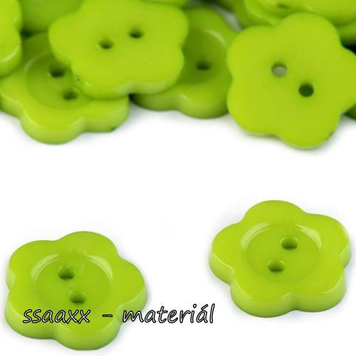 Plastový knoflík ~ květ ~ 14 mm ~ 2 ks ~ zelený