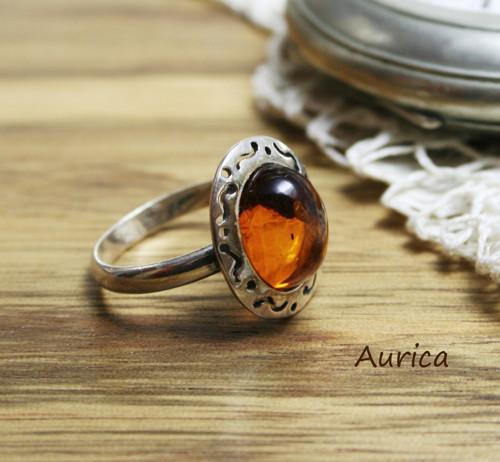 Jantarový prsten ze stříbra Ag 925