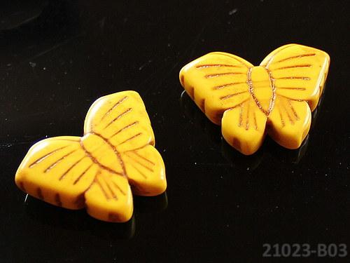 21023-B03 Motýlek z howlitu 27/20 ŽLUTÝ, á 1ks