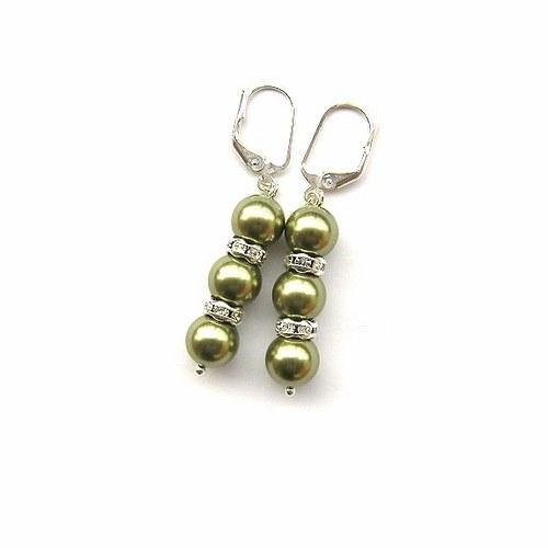 Perly Swarovski olivové