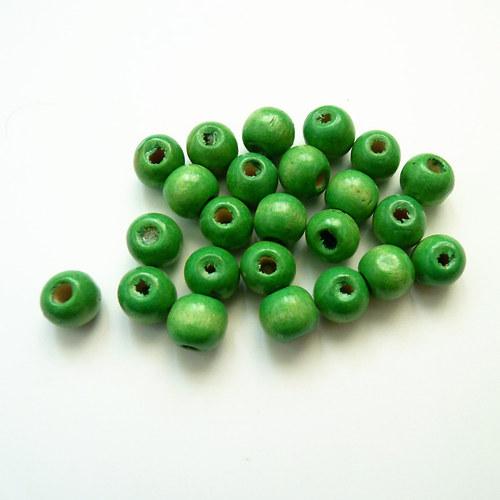 Světle zelené kuličky - dřevo 24 ks