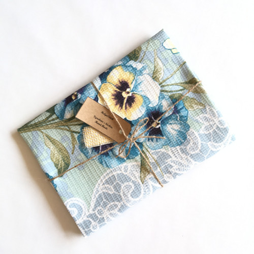 Vaflová utěrka / ručník - Modré macešky