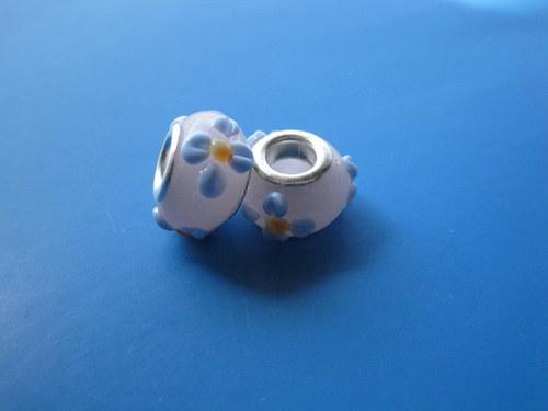 Korálky - sklo - 2ks - růžové s květy