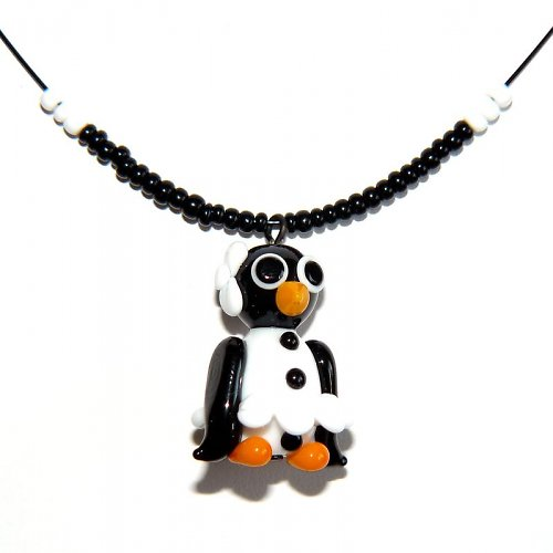 Tučňáčí holka v bílé sukni - vinutá perle