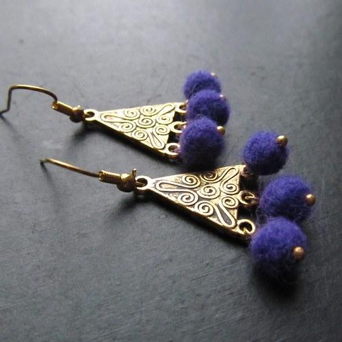 Náušnice romantičky plstěné fialové
