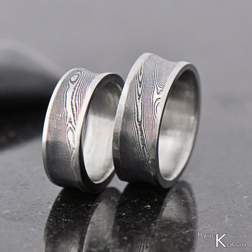 Kovaný snubní prsten damasteel - Collium line