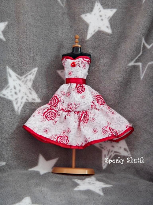 """SA0089 - Bíločervené růžičkové \""""korzetové\"""" šaty"""