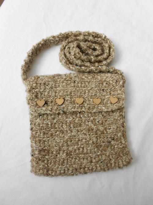 kabelka - hnědý melír se srdíčky