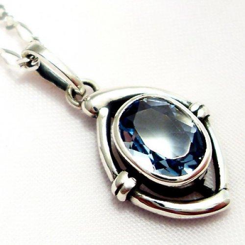Přívěsek «Ovál» - stříbro 925, modrý topaz