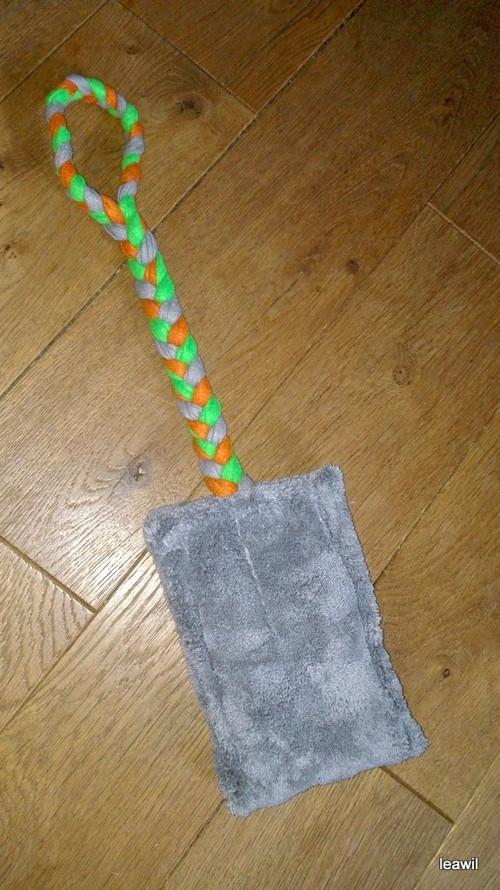 Mopové přetahovadlo - plyš s výplní šedo-zel.oranž