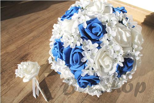 Svatební kytice král. modrá vč. korsáže