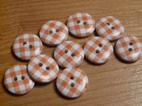 Knoflíky kostkované / 2 ks oranžové