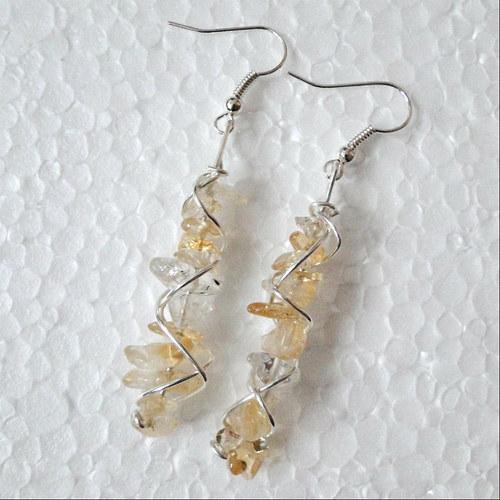 Minerálové náušnice - citrín - AKCE