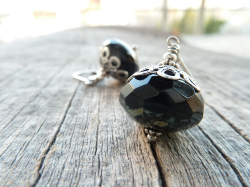 náušnice ... vintage look black