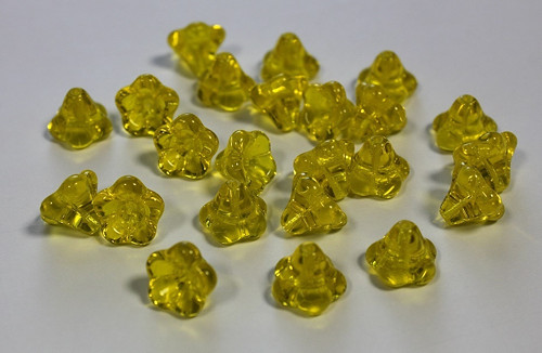 Zvonečky - 11/13mm - žlutá/jantarová - 10ks - 18kč