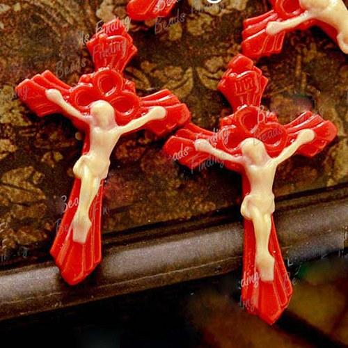 Ježíš na kříži - červený