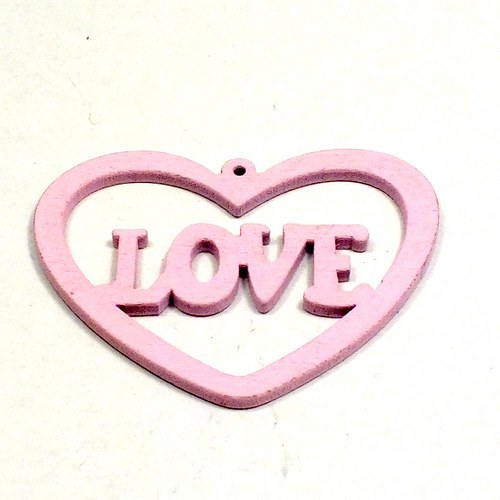 Dřevěný přívěsek - srdce,růžové