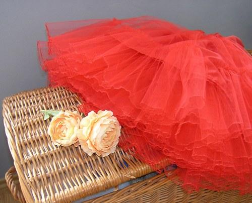Spodnička pod kolovou sukni... červená délka 55cm