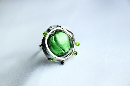 Flora - prsten zelený