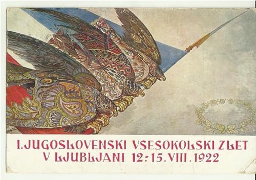 Pohlednice se Sokolskou tématikou r.1922