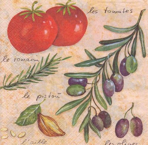Ubrousek - olivy a rajčata
