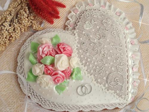 Velké svatební srdce - s růžičkami