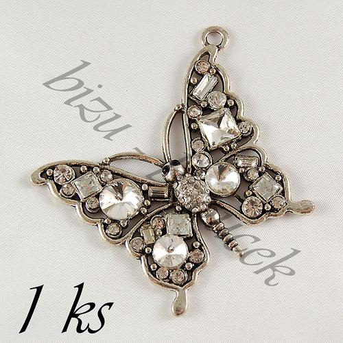 Motýl s čirými šatony - 1ks, stříbrná barva