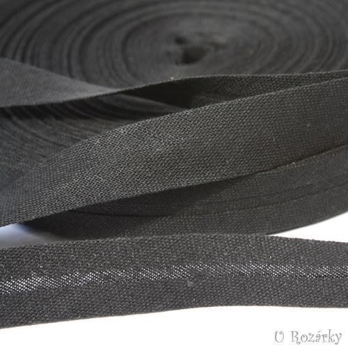 Šikmý proužek-bavlněný,černý šíře 14mm-cena za 2m!
